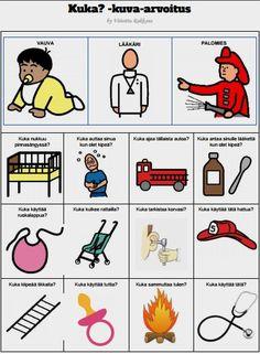 Harjoitellaan mitkä asiat tai esineet liittyvät vauvaan, lääkäriin ja palomieheen. Miten nämä kolme ihmistä eroavat toisistaan?