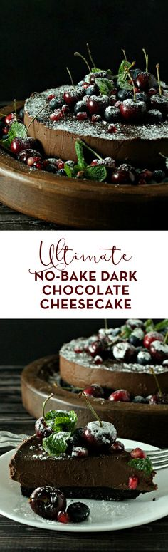 Sinfully rich & decadent, this Ultimate No-Bake Dark Chocolate Cheesecake is THE most have, no-fuss dessert of the holiday season! #cheesecake #holiday #dessert #christmasdessert #sweets #chocolate #nobake #nobakedesserts
