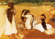 Women Combing Their Hair, 1877 by Edgar Degas. Impressionism. genre painting. Philips Collection, Washington DC, USA