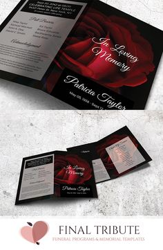 DIVINE LOVE - A RED ROSE-THEMED MEMORIAL CARD TEMPLATE