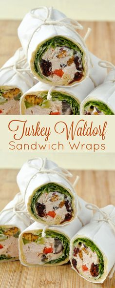 Turkey Waldorf  Salad Sandwich Wraps - a post Thanksgiving sandwich will never be the same once you sample this delicious combination of flavours and textures.