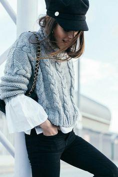Sweater: tumblr grey cable knit grey cable knit shirt white shirt hat black hat fisherman cap denim