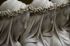 """""""THE VEILED VESTAL VIRGIN"""" by Raffaelo Monti: Vestal Virgins could be seen as modern-day nuns. They symbolized purity. Vestal Virgins were important in early religious life in the way that they kept candles lit in worshipping temples at all times. Cemetery Statues, Cemetery Art, Angel Statues, Cemetery Angels, Greek Statues, Under The Veil, Art Sculpture, Stone Sculptures, Abstract Sculpture"""