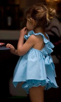 Summertime blue ruffle top and bloomer #kidstyle