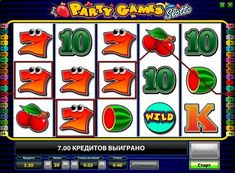 Description of the slot machine Party Games Slotto. Slot Machine Party Games Slotto, developed by Novomatic, will appreciate the players by the excellent cash prizes. Play for real money in this slot is very profitable in the first place thanks to generous symbols and win-win bonus rounds. However, newcomers can always test their strength in the