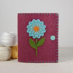 Wool Felt Needle Book - Baby Blue Dahlia on Plum by TheBlueDaisy, via Flickr