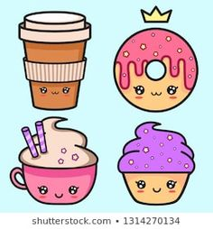 Cute Food Drawings, Art Drawings Sketches, Disney Wallpaper, Cartoon Wallpaper, Seashell Tattoos, Things With Faces, Cute Canvas Paintings, Bullet Journal Art, Food Illustrations