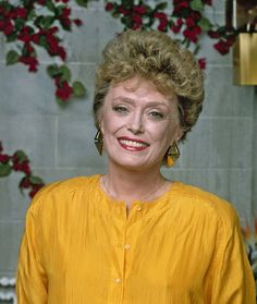 Rue McClanahan as Rose Nylund on The Golden Girls. Rue was originally cast as Rose! Betty White suggested they switch roles as both were being typecast. Rue had played the naive neighbor on Maude.