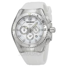 Technomarine Cruise Chronograph White Dial White Rubber Ladies Watch 111045