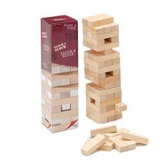 Clásico juego de las torres de madera. Excelente acabado.  El juego da comienzo con una torre en la que se deben ir sacando piezas por turnos. Perderá el jugados al que se le derrumbe la torre. Más info en: http://www.imawamba.com/tienda/juegos-de-habilidad/block-a-block-ficha-de-compra.html