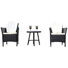 Garden Bistro Set Furniture Patio Sofa Chairs and Round Coffee Table Set
