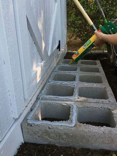 I used cement glue to attach the pavers to the cinder block. cinder block and paver stairs for garden shed or playhouse. Backyard Projects, Outdoor Projects, Garden Projects, Diy Projects, Diy Garden, Garden Gazebo, Garden Bed, Concrete Blocks, Play Houses