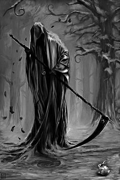 The grim reaper is the narrator of the story. And the story is mostly about death. Grim Reaper Art, Grim Reaper Tattoo, Don't Fear The Reaper, Grim Reaper Halloween, Dark Fantasy Art, Dark Art, La Muerte Tattoo, Reaper Drawing, Macabre
