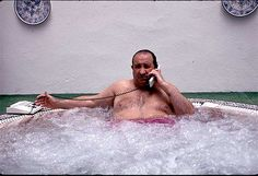 Building Without Content,    Jesùs Gil y Gil in his jacuzzi, Corruption star of the housing bubble in 1990s-2000s Spain.