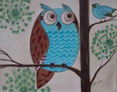 Hoot Man -- Owl Artwork  Oil On Canvas Painting, Owl artistry, owl artwork, green and brown bird