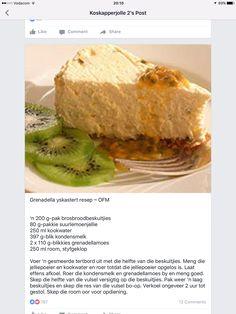 Grenadella Kaas Koek Tart Recipes, My Recipes, Recipies, Dessert Recipes, Cooking Recipes, Guava Desserts, African Dessert, African Recipes, Sweet Tarts