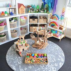Grimm s Ostheimer Wobbel Grapat Mokulock Oskar s Wooden Ark oskarswoodenark Daycare Spaces, Childcare Rooms, Home Daycare, Kid Spaces, Playroom Design, Playroom Decor, Montessori Playroom, Toddler Rooms, Kids Seating
