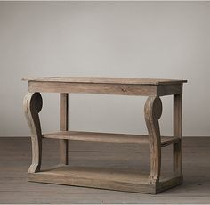RH's Giles Small Console:Inspired by the weathered neoclassical antiques of 18th-century Europe, our elegant console features a modified cornice, stylized animal foot and scrolling supports that extend beyond the apron. The authentic finish is the result of a painstaking, multistep process employed by highly skilled artisans.