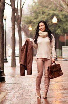 cute  little blog | winter pastels outfit | cognac moto jacket, beige cowl infinity scarf, pink pants, kate spade gold licorice pumps