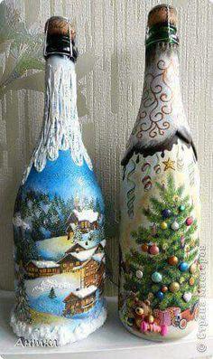 Botellas pintadas con motivos navideños. Imagen encontrada en la web.
