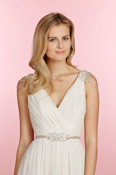 Giada, Ivory over cashmere English net A-line bridal gown with sparkle tulle underlay, softly gathered cross-over bodice with V-neckline and deep V-back, draped shoulder cap and beaded belt at the natural waist. Bridal Gowns, Wedding Dresses - JLM Couture Inc. - Bridal Style 1501 by JLM Couture, Inc.
