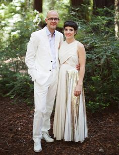 Big Sur wedding with a gold wedding dress