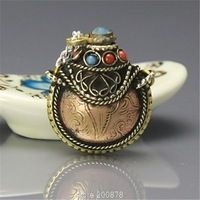 BYH022 Tibetan metal Red Copper Eight Auspicious Words Mantras Small Snuff Bottles Tibetan Amulet Pendants