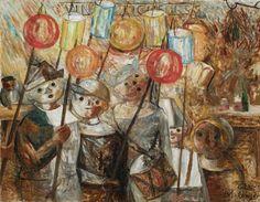 Dzieci z pochodniami (La retraite aux flambeaux) - Tadeusz Makowski
