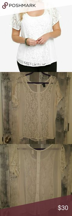 Torrid sheer  white lace illusion top 2 2x chiffon Excellent like new condition. This top has a sheers front lace panel and sleeves. It buttons up the back also. Bust measures approximately 50 inches length 28 inches. torrid Tops Blouses