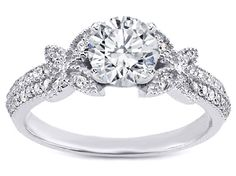 Butterfly Diamond Engagement Ring  - ES1191BRWG