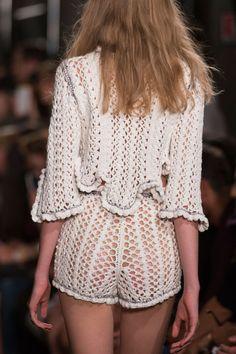 Philosophy Di Lorenzo Serafini at Milan Fashion Week Spring 2016 - (Details) Crochet Top + Shorts