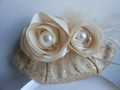 Ivory and gold vintage clutch