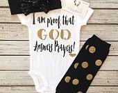 I Am Proof GOD Answers Prayers God Answers Prayers Bodysuit Answered Prayer Glitter Bodysuit, Sparkle Bodysuit, Religious Baby Shirt