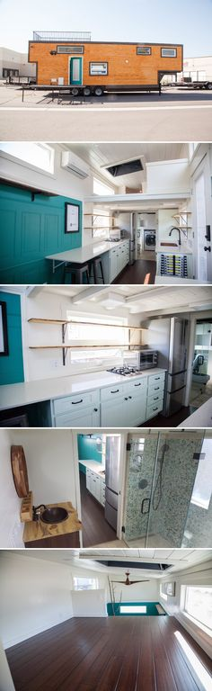 From Alpine Tiny Homes is El Gato, a 30-foot gooseneck tiny house with several built-in amenities for the owners' two dogs and two cats.