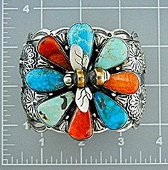 Navajo Sterling Silver Kingman Turquoise Sponge Coral Raised Flower with Bee in Center of Flower Cuff Bracelet By L. James 2 1/8 Inches Wide 1 3/8 Inch Back Opening 168 Grams