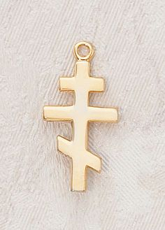 "Eastern Orthodox Cross - Gold Over Sterling Silver -3/4"" w/chain"