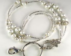Black Pearl Beaded Lanyard ANTIQUE PEARL id badge by curlynetto