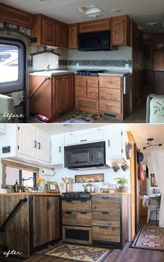 Incerdible Photo Gallery Rustic Rv Interior Amazing Rustic Camper Kitchen Ideas To Inspire You Rustic Modern Rv Kitchen With Reclaimed Wood Cabinets Mountain Camper Life, Diy Camper, Rv Life, Diy Caravan, Camper Kitchen, Basement Kitchen, Rv Redo, Estilo Tropical, Travel Trailer Remodel
