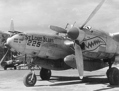"""""""St. Louis Blues"""" P-38J-10 Serial Number 42-104391 12th Fighter Squadron (The Dirty Dozen) 18th Fighter Group 13th Air Force Pilot Lt Eugene Sommerich 1 Victory 11-29-1944 Based in the Philippines, Mindanao, Zamboanga airfield in May 1945 around the time of the photo."""