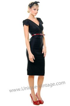 40's Style Black Belted Eclipse Wiggle Dress