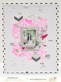 pink, stencil, white title on white, chevrons, feathers