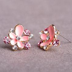 Enamel Flower Small Earrings Austrian Crystal Flores Oorbellen Brand Aretes Wedding Love Pendientes Fine Jewelry Summer Style