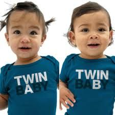 twins. So cute. I had shirts that said in the twin sister and I'm the twin brother, but this is so cute too. For anyone that doesn't know during ultrasounds on twins they label them baby A and Baby B so they can monitor each ones growth.