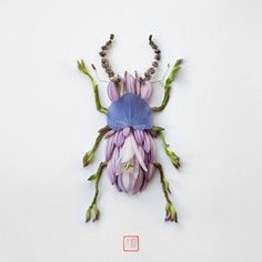 In his insect art series, Natura Insects, artist Raku Inoue delicately crafts colorful floral arrangements that look like bugs. Arte Floral, Flower Petals, Flower Art, Bug Art, Parts Of A Flower, Colossal Art, Beautiful Bugs, Insect Art, Art Series