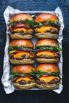 Real man food. Now that's what dad, gourmet guys and burger loving men want to find in a gift box on their birthday or father's day. Mini gourmet burgers in brioche buns.