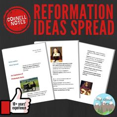 Perfect for middle school, high school, and home school teachers looking for curriculum/teaching materials on the land of the United States and Canada/the spread of Reformation ideas! Cornell, or two- Modern World History, High School Curriculum, Cornell Notes, Grades, Teaching Materials, Reformation, School Teacher, As You Like, Middle School
