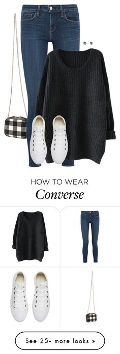 """Gingham Print Bag with Chunky Knit Sweater and White Sneakers"" by coolchick1630 on Polyvore featuring Christopher Kane, L'Agence, Converse and Wet Seal"