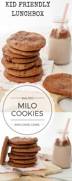Delicious Malted Milo Cookies w Choc CHips, rolled in extra Milo for more chocolate goodness! Regular method and Thermomix recipe. Kid friendly lunchbox or snack idea.