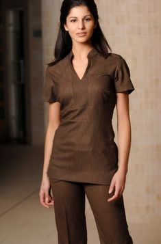 Spa Uniform for Ladies 11 Beauty Tunics, Scrubs Pattern, Salon Wear, Housekeeping Uniform, Beauty Uniforms, Hotel Uniform, Corporate Uniforms, Scrubs Outfit, Tunic Designs