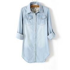 982b958e53772 2017 new Spring Autumn Europe and America long paragraph long-sleeved denim  shirt Pocket Light